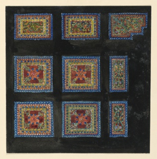 Against a black ground are set eight square or rectangular panels and one with indented right lower corner. Panels reproduce Byzantine floral motifs.