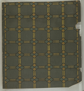 Geometric pattern on textured paper. Metallic gray-turquoise ground. Pattern of squares and diamonds in shades of metallic gold and green, outlined in black.
