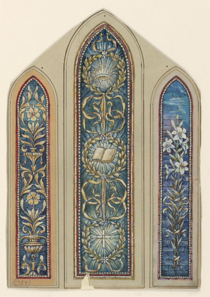 Three long, narrow panels, with pointed arched tops.
