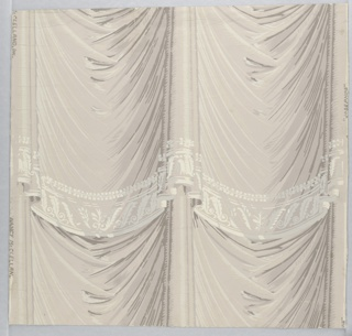 """Simulates festooned drapery in tiers with lace at bottom of each tier. Used in restoration of Mme. Jumel's bedroom in Jumel Mansion in New York City. Printed on margin: """"Nancy McClelland Inc. Josephine"""""""