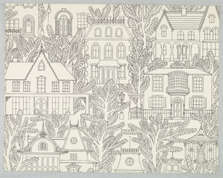 a) Leaf motif forming small diaper pattern. Blue motif runs perpendicular to red motif, printed on a white ground; b) Bird cages containing birds, suspended from ribbon with floral garnishes. Printed in gray, black and red on white ground; c) Aerial views of New York City, with landmarks including the Chrysler Building, Statue of Liberty, and Central Park. Printed in gray and black on white ground; d) Brightly colored flowers and foliage on white ground; e) Frontal views of Victorian homes, each separated by trees. printed in black on white ground.