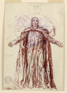 Sketch for Christ in the painting in the chancel of St. Bartholomew. Facing forward with raised and extended arms. A glory of rays behind the head and shoulders.