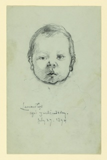 Portrait of the head of a baby, looking straight ahead.