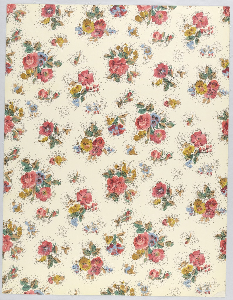 """This pattern is inspired from an early 18th century chintz printed in India and so is a typical Queen Anne design. Small clusters of gay flowers, all on a small scale, are scattered over the entire surface. Each floral piece has a pin-pointed area immediately around it, intervening space is plain. It is definitely a design popular in England in 1700-15 and the original chintz probably came from the Coromandel coast. Printed on reverse: Birge, Waterfast, 2932A, Sidewall, Glaze-tek""""."""
