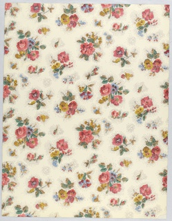 "This pattern is inspired from an early 18th century chintz printed in India and so is a typical Queen Anne design. Small clusters of gay flowers, all on a small scale, are scattered over the entire surface. Each floral piece has a pin-pointed area immediately around it, intervening space is plain. It is definitely a design popular in England in 1700-15 and the original chintz probably came from the Coromandel coast. Printed on reverse: Birge, Waterfast, 2932A, Sidewall, Glaze-tek""."