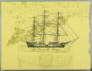 "Sailing vessel with sails furled on a ground of plans for the hull of the ship and a marine map of ""Fishers Island"" and ""Fishers Island Sound"". Shades of green and white on greenish-yellow ground. On margin: ""Charles W.Morgan"", an Exclusive Schumach Hand Print"". Notation on back: ""from the pages of LIFE""."