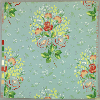 Bouquets of roses, carnations and lilies-of-the-valley arranged as drop repeats with small flowers and leaves filling the spaces between. Printed in yellow, white and several shades of red and green on pale blue ground.