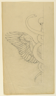 Sketch of a caduceus staff, showing half of the design with a snake twisted around the staff and part of a wing.