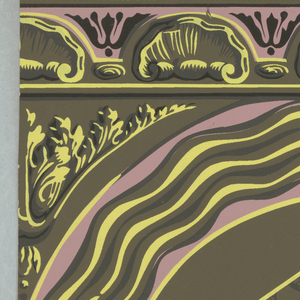 Two circular designs in pink, yellow, black with marbleized lozenge shape in center of each; stylized floral motif and shell motif borders, on dark olive ground