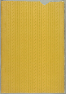 Vertical bands with small twisting floral motifs. Greenish yellow on yellowReminiscent of Louis XVI ribbed silk. Mica