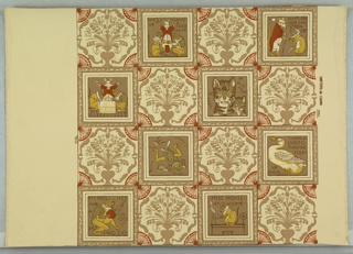 "Children's wallpaper containing images of ""Ye Frog He Would a Wooing Go"", ""Miss Mouse"", ""Ye Cat and Ye Kitten"", ""Ye Duck"" and other scenes. This is a reproduction of the original nursery paper found in the Mark Twain home, designed by Walter Crane."