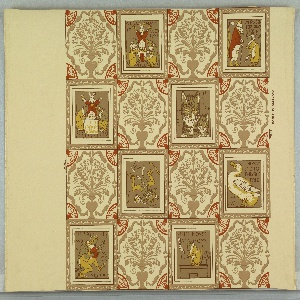 """Children's wallpaper containing images of """"Ye Frog He Would a Wooing Go"""", """"Miss Mouse"""", """"Ye Cat and Ye Kitten"""", """"Ye Duck"""" and other scenes. This is a reproduction of the original nursery paper found in the Mark Twain home, designed by Walter Crane."""