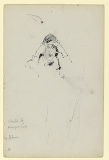 Sketch of Kenyon Cox with his face in his hands. Only head and forearms indicated.