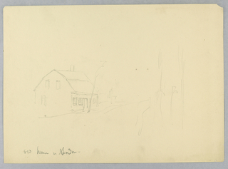 House, at left, outlined. Trees in right foreground lightly sketched.