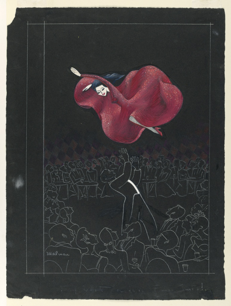 Vertical rectangle. A female café dancer, wearing a red dress, flies through the air, and is about to be caught by her male partner; female figure is pasted on. Spectators, in outline only, surround the group.  Above: Mar. 29, 1947 THE Price 15 cents / NEW YORKER.