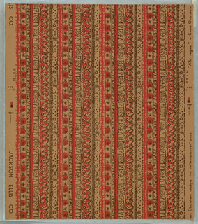 Vertical columns of doodles and sprigs, brown and pink. The design repeats laterally four times. The screen is cut to include all four repeats and is not used over again for each repeat.