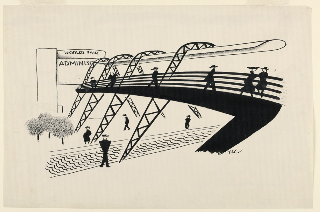 A bridge, with trusses, center and right, over a waterway. Trees and the Administration Building of the New York World's Fair, left. People walking.
