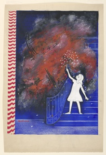 Girl drawn in white, right, on blue stairs, holding up a sparkler. Within a red cloud beside her, with sparks issuing through it, tanks, planes, artillery, outlined in black and yellow. Red and white stripes in vertical line up left side.