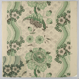 Design of serpentine stripes; white with large flowers in green, white and black on ground ornament of scale pattern in dots; green and white with small flowers in green, white and black. b) Small piece of cloth showing printed pattern identical with part of wallpaper design.