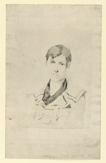 Self-portrait of the artist in three-quarter view, wearing a coat.