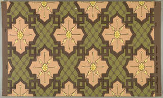 Diaper pattern: a) printed in green, tan and yellow on tan ground; b) green salmon and yellow on brown ground.