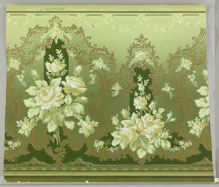 Clusters of white roses surrounded by gold scrollwork and green net pattern, on shaded green ground.