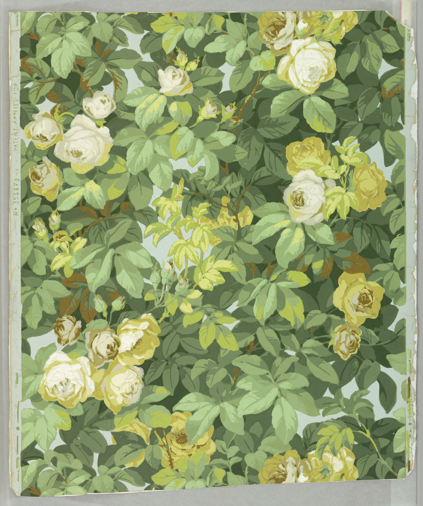 Thickly clustered branches and leaves with white and yellow roses. Straight across match. Printed in colors on gray-blue ground.