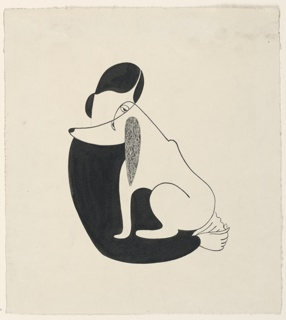 Stylized, linear figure of a woman in black, holding a dog on her lap. The woman's and dog's faces overlap such that the woman's eye can also be read as part of the dog's face.