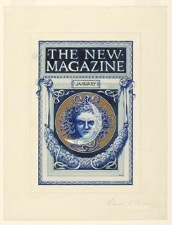 """A Medusa head against a crescent moon within a circle is the central motif, framed by a swag. Above, in a panel """"THE NEW MAGAZINE / JANUARY"""""""