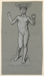 Vertical rectangle. The nude figure of a boy, standing, facing the viewer. The arms are uplifted, basin on boy's head, and pedestal, are suggested.