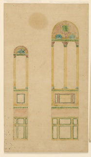 Two round arched windows in the Byzantine style; left, single arch; right, double arch. Panels of colored marble indicated below.