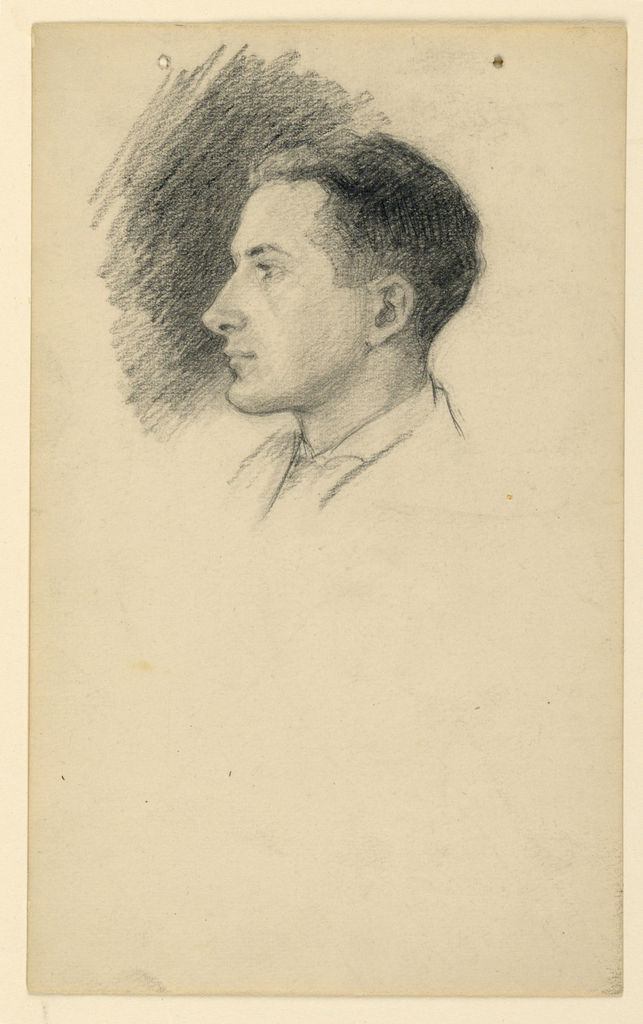 Profile drawing of a young man facing left.