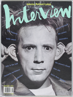 January issue of Interview magazine, 1991. Cover features a photograph of singer-songwriter, John Joseph Lydon (Johnny Rotten), pulling at his ears.