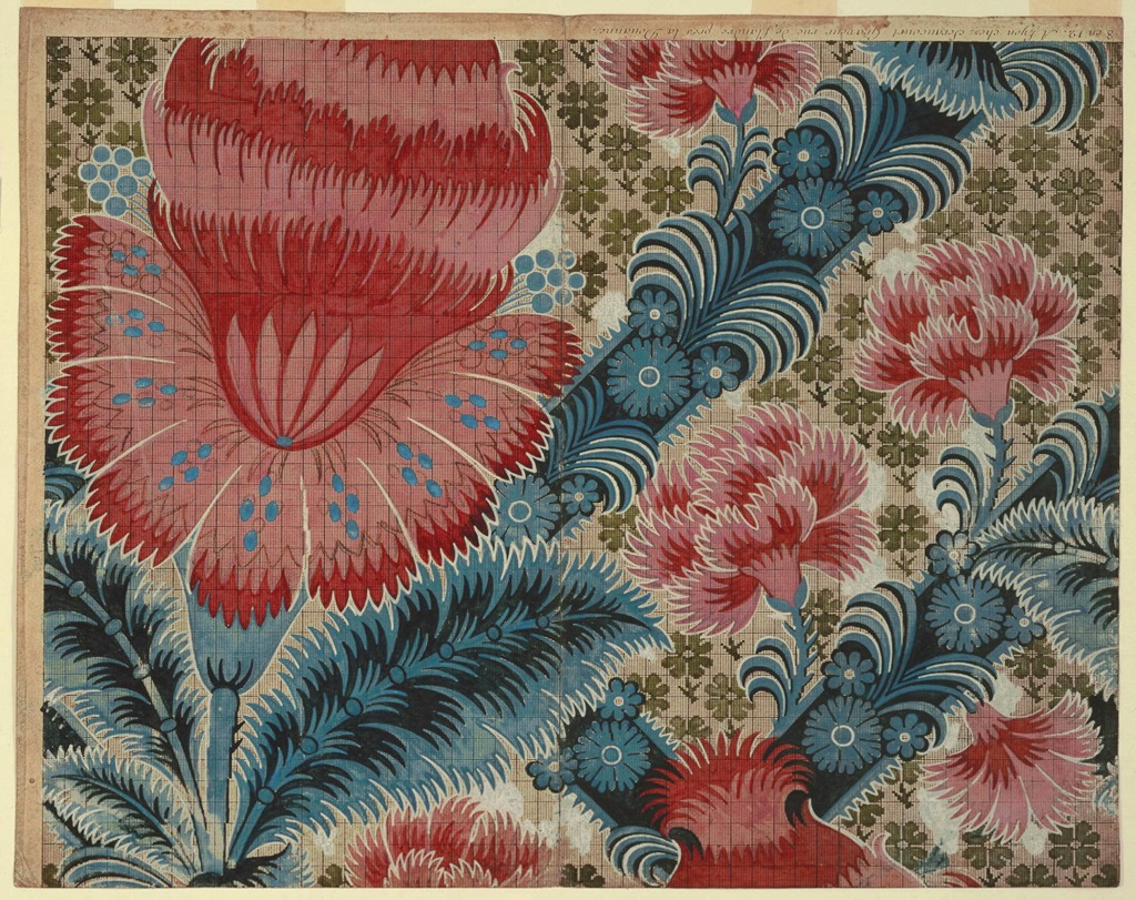 Drawing, Preparatory Design for Silk Brocade