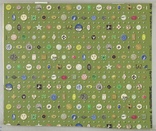 Horizontal rows of buttons and small pearls alternating with rows of the pearls alone. Buttons of different colors and techniques (some with gold) are included. Some of the buttons are of unusual shapes such as a star, heart, and butterfly.