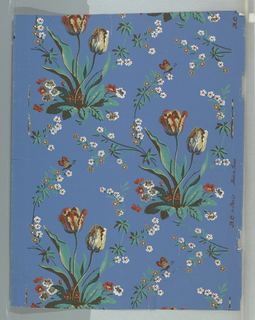 """a) Clusters of tulips and foliage in diagonal patterns, Green, red, gray, and brown on cream ground. Printed in selvedge:  """"R C a Paris, Made in France""""; b) Clusters of tulips and foliage in diagonal patterns. Green, red, yellow, and white on royal blue ground."""