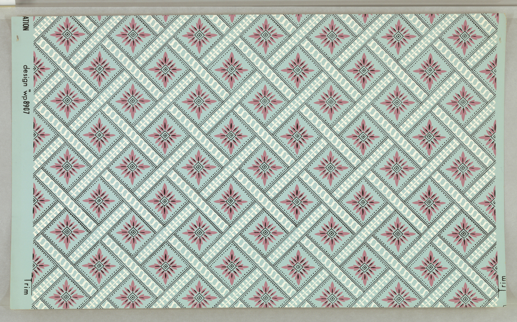 "On gray-blue ground, squared diamond grid formed of bandings outlined in black with white patterned fill; bandings arranged in loose-woven basket weave. In centers of diamonds: pink and black geometricized foliate pattern. Printed in margin: ""__ATION design No. 8907."""