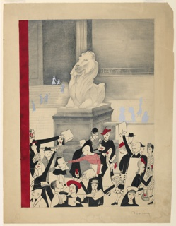 Figures in foreground, in black, white, and gray; women with red hats, flowers, and at center, man with red striped shirt. Above them, one of the stone lions outside the main branch of the New York Public Library. Beyond, gray and lightly outlined figures moving about. Red vertical stripe at left.