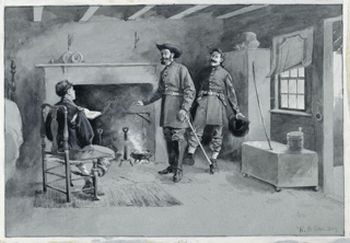 Two men in uniform, standing in front of a fireplace, speak to a third, seated, with his back toward the viewer.