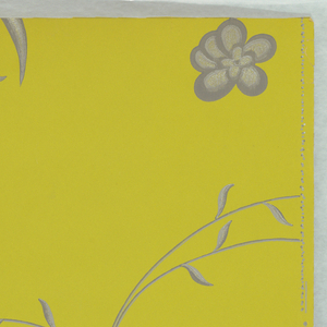 On chartreuse ground, stylized linear pattern of foliage in two shades of gray and silver.