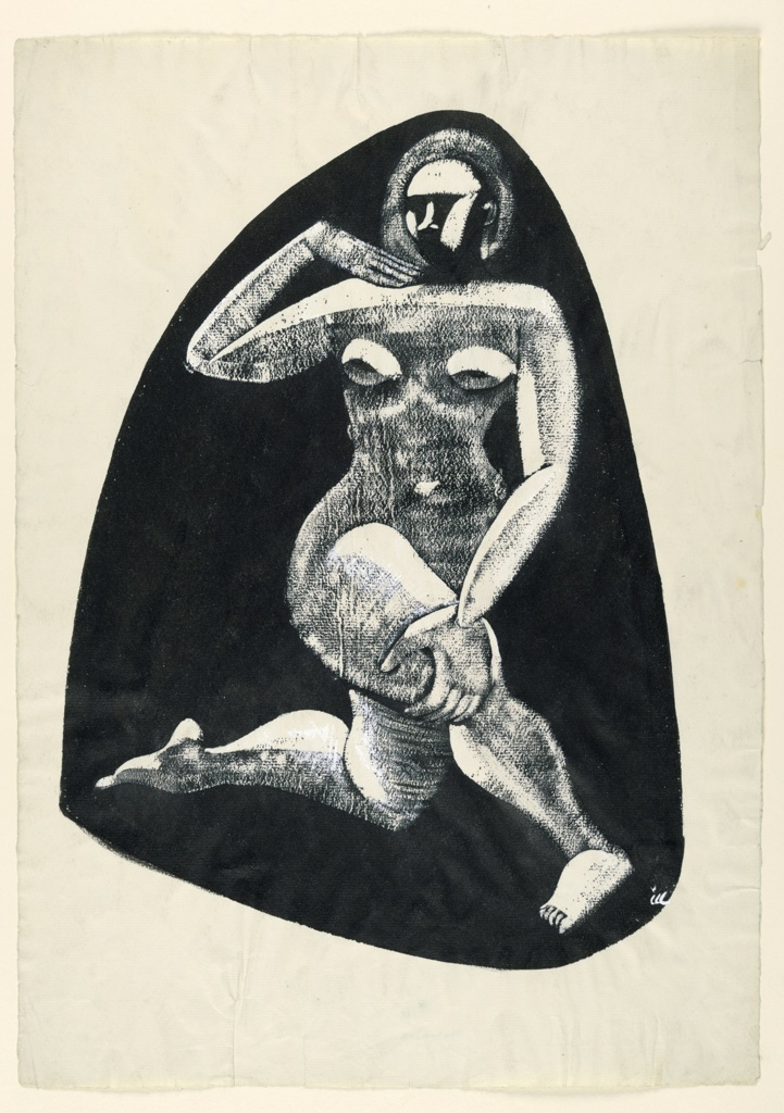 Kneeling nude figure in white within a triangular black mass.