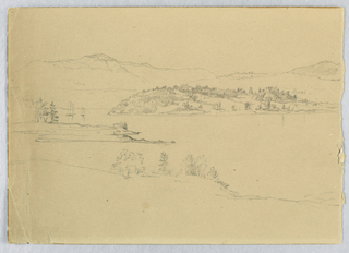 View of bay with sailing vessels, at left, and hills in distance. Verso: View of lake with rafter and mountains.