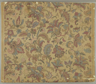 Overall foliate pattern of formalized flowers and leaves, after the Indian style. Full width, with somewhat more than one repeat. Printed in colors with gilt on pebbled ground.