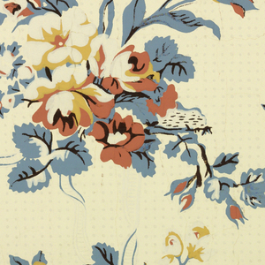 Design based on C.U.M. original French wallpaper of about 1785 (1928-2-93). Drop repeating arrangement of tulips and roses, tied with ribbons, alternating with horizontally placed spray of apple blossoms. Dotted ground; printed in blue and brown on cream ground.