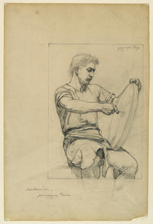 Sketch of a magazine cover with a seated male figure holding a wheel.