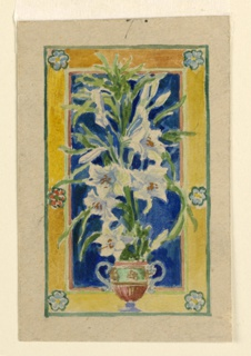 Vertical panel showing a vase of Easter lilies against a blue background, and six flower rosettes in the frame. Verso: pencil sketch of a similar motif.