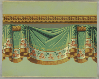 A reproduction of French Empire wallpaper simulating festooned drapery. A band of architectural molding is above a wide drapery festooned over a carved rod. Between the swags are folds of drapery. Small clusters of three dots each are scattered over textile and an embroidered floral band is at bottom. The edge is trimmed with a wide gold straight edge cut fringe. Printed in gold, green and henna.