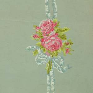 On textured paper, robin's egg blue moire ground, with two vertical bands blue ribbons, pink roses, green foliage.