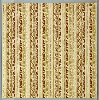 Vertical columns of abstract shapes and lines in brown and pale green. The vertical columns repeat laterally four times. Printed on cream ground.