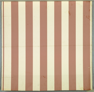 Paper, embossed to give effect of narrowing horizontal ribbing and in pink stripes on white ground.